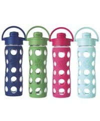 Life Factory 12 oz Glass Bottle with Flip Cap and Silicone Sleeve