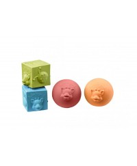 Vulli Sophie la girafe® So'Pure 2 balls and 2 cubes set (4 pieces in natural rubber)