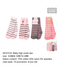 Luvable friends Animal Baby High Socks Safari Pink 4pk