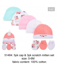 Luvable friends 5pc Caps & 3pc Scratch Mitten Set Fox 0-6M