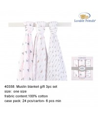 Luvable friends Muslin Swaddle Blanket 3pk