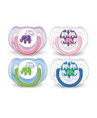 Philips Avent Fashion Elephant Baby Soothers (0-6m) TWIN PACK