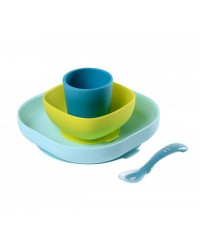 Beaba Silicone meal set (4 pcs) - BLUE