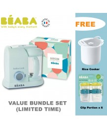 Beaba Babycook 4-in-1 Baby Food Maker BS Plug ( Aquamarine Blue) FREE RICE COOKER+ CLIP PORTION