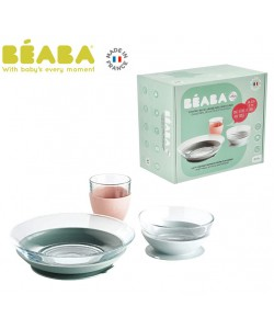 Beaba Duralex Glass Meal Set With Soft Protective Suction Pad Eucalyptus