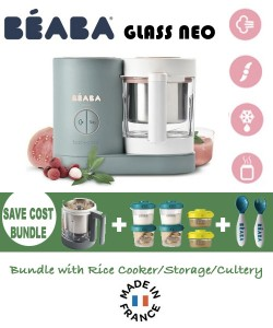 Beaba Babycook Neo Glass 4 in 1 Steam Cooker & Blender- Eucalyptus (NEW) SAVE COST BUNDLE