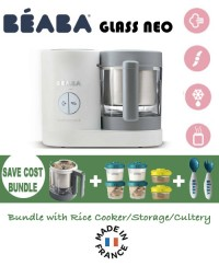 Beaba Babycook Neo Glass 4 in 1 Steam Cooker & Blender- Grey/WhiteSAVE COST BUNDLE