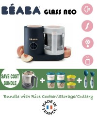 Beaba Babycook Neo Glass 4 in 1 Steam Cooker & Blender- Night Blue (NEW) SAVE COST BUNDLE