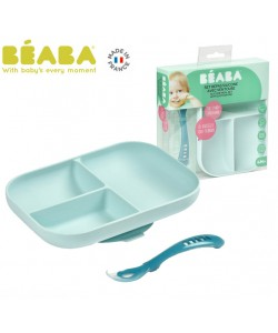 Beaba Silicone Suction Divided Plate & Spoon - Blue