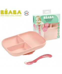 Beaba Silicone Suction Divided Plate & Spoon - Pink