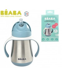 Beaba 250ml Stainless Steel Straw cup_WINDY BLUE(new)