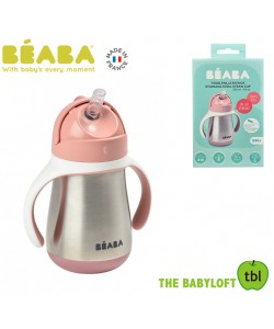 Beaba 250ml Stainless Steel Straw cup_VINTAGE PINK(new)