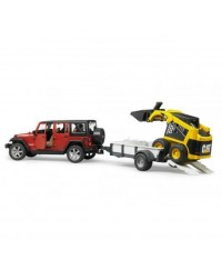 Bruder Jeep Wrangler Unlimited Rubicon Trailer&CAT Skid