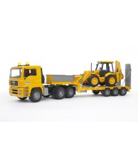 Bruder MAN TGA Low Loader Truck w/ JCB 4CX Backhoe Loader