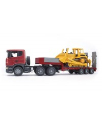 Bruder Scania R-Series Low Loader Truck w/CAT Bulldozer