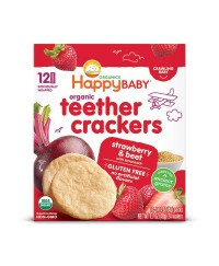 Happy Baby Organic Teether Crackers - Strawberry&Beet