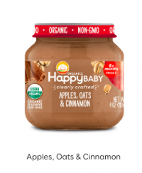 Happy Baby Clearly Crafted Jar S1 - Apple, Oats & Cinnamon