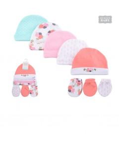 Hudson Baby Caps & Scratch Mitten Set-Grey Pink (5pcs)