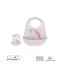 Hudson Baby Silicon Bib-Unicorn