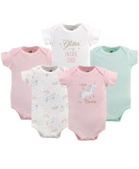Hudson Baby Short Sleeve Baby Suits - Glitter Unicorn (5pcs)