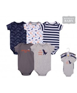 Hudson Baby Hanging Short Sleeve Interlock Baby Suits 5pcs