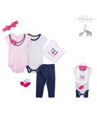 Little Treasure Short Sleeve Baby Suits - Perfected Polished 6pcs Set