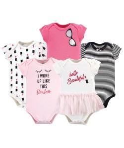 Little Treasure Short Sleeve Baby Suits - Lipstick 5pcs Set
