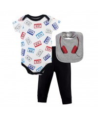 Little Treasure Bodysuit, Pant And Bib Set Head Set - Rock