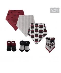 Hudson Baby Bandana Bib & Socks Set (5pcs)