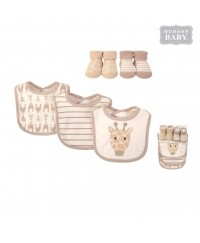 Hudson Baby Bib and Sock 5pc Set-Giraffe (5pcs)