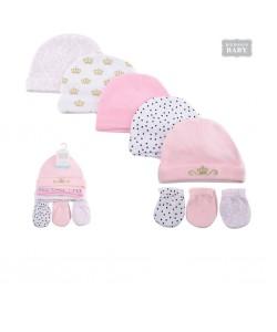 Hudson BabyCaps & Scratch Mitten Set-Grey Princess (8pcs)
