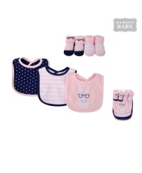 Hudson Baby Droller Bib and Socks Set - Hip Bunny (5pcs)