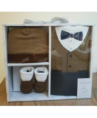 Little Treasure Layette Gift Box Set - Herringbone Vest 4pcs