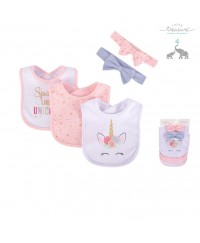 Little Treasure Baby Girls Bib and Headband Set