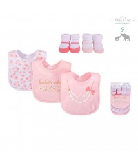 Little Treasure Baby Girls Bib and Sock Set