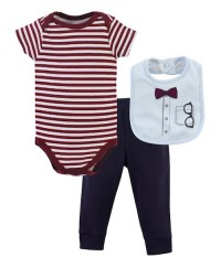 Little Treasure Bodysuit, Pant And Bib Set Head Set - Genius