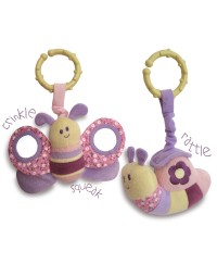 Little Bird Told Me Rattle & Squeak Set Billowy Butterfly and Softly Snail