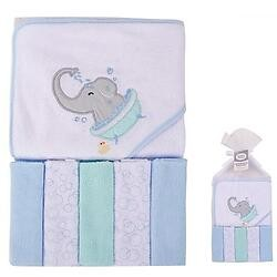 Luvable Friends Animal Hooded Towel & 5pcs Wash Cloth - Elephant