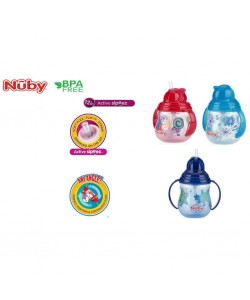 Nuby Pinpoint 2 Handle Click-it Trainer Cup With Weighted Straw (12m+)