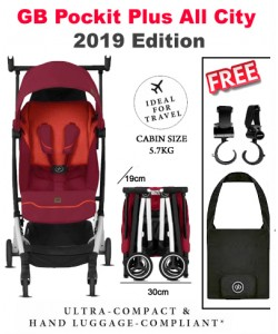 POCKIT+ ALL CITY Stroller 2019 (Free Travel Bag+ 2 x Stroller Hook)