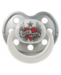 Rock Star Baby Orthodontic Pacifier - Heart & Wings 3m+
