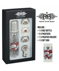 Rock Star Baby Pacifier & Bottles Gift Set - Heart & Wings