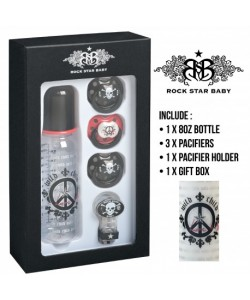 Rock Star Baby Pacifier & Bottles Gift Set - Peace