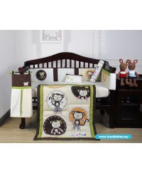 Bumble Bee: 7pc Embroidery Crib Set - Monkey Business