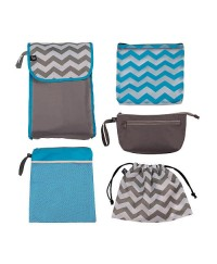 J.L Childress 5-in-1 Diaper Bag Organizer - Grey / Teal Chevron