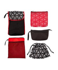 J.L Childress 5-in-1 Diaper Bag Organizer - Black / Red Floral