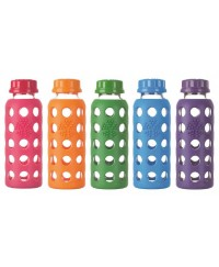 Life Factory 9 oz Glass Bottle with Flat Cap and Silicone Sleeve