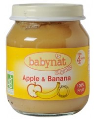 Babynat Organic Apple & Banana Jar - from 4 months (130g)